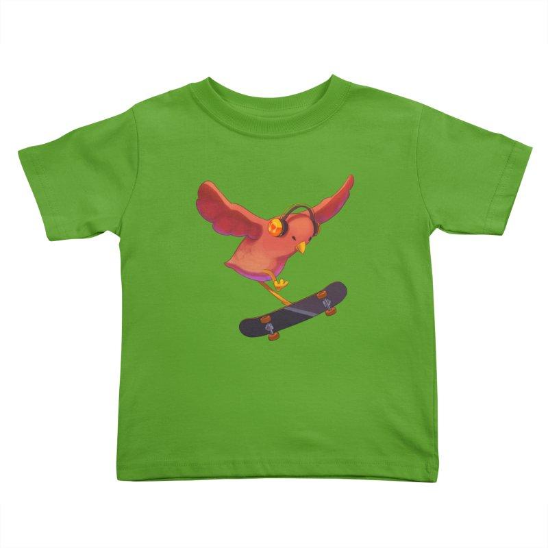 A Plain Skateboardin' Birb Kids Toddler T-Shirt by SkateBIRD Merchandise