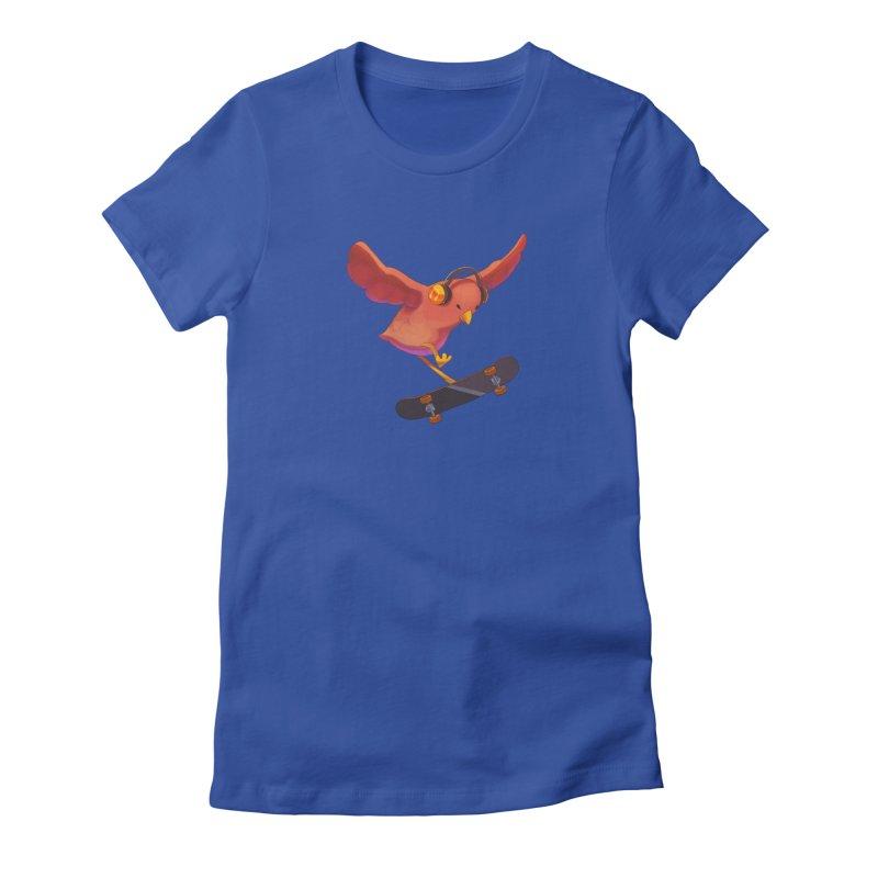 A Plain Skateboardin' Birb Women's T-Shirt by SkateBIRD Merchandise