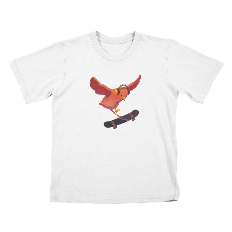 A Plain Skateboardin' Birb Kids T-Shirt by SkateBIRD Merchandise