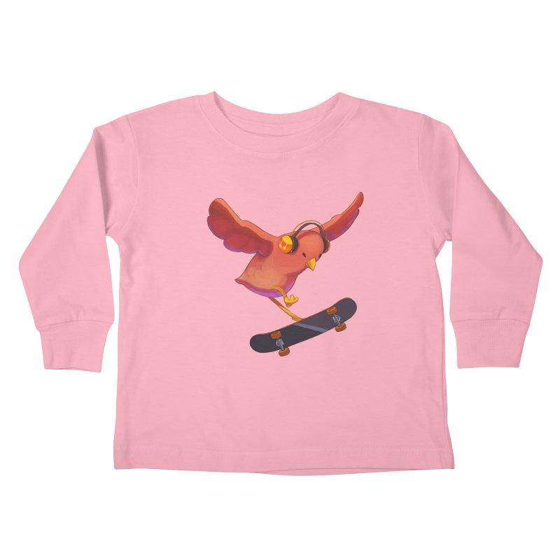 A Plain Skateboardin' Birb Kids Toddler Longsleeve T-Shirt by SkateBIRD Merchandise