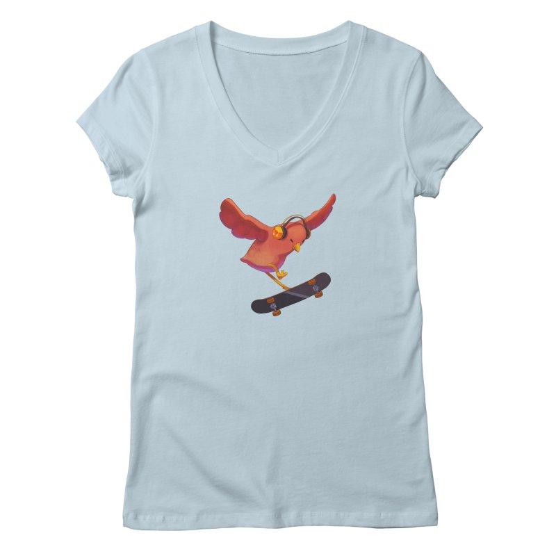 A Plain Skateboardin' Birb Women's V-Neck by SkateBIRD Merchandise