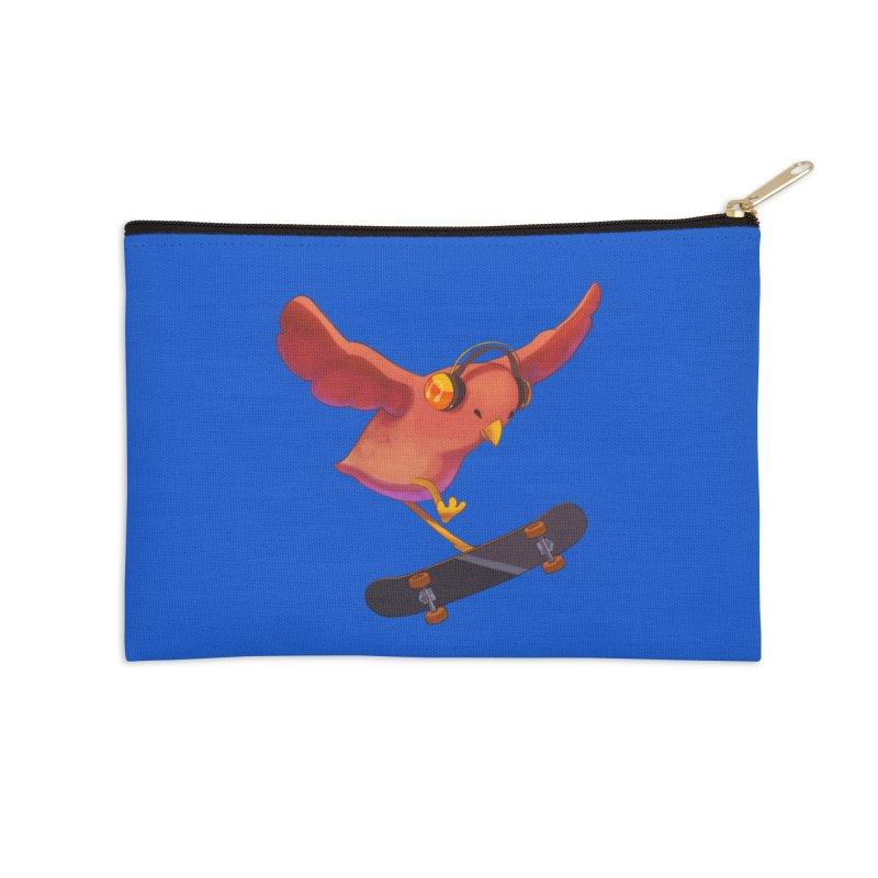A Plain Skateboardin' Birb Accessories Zip Pouch by SkateBIRD Merchandise
