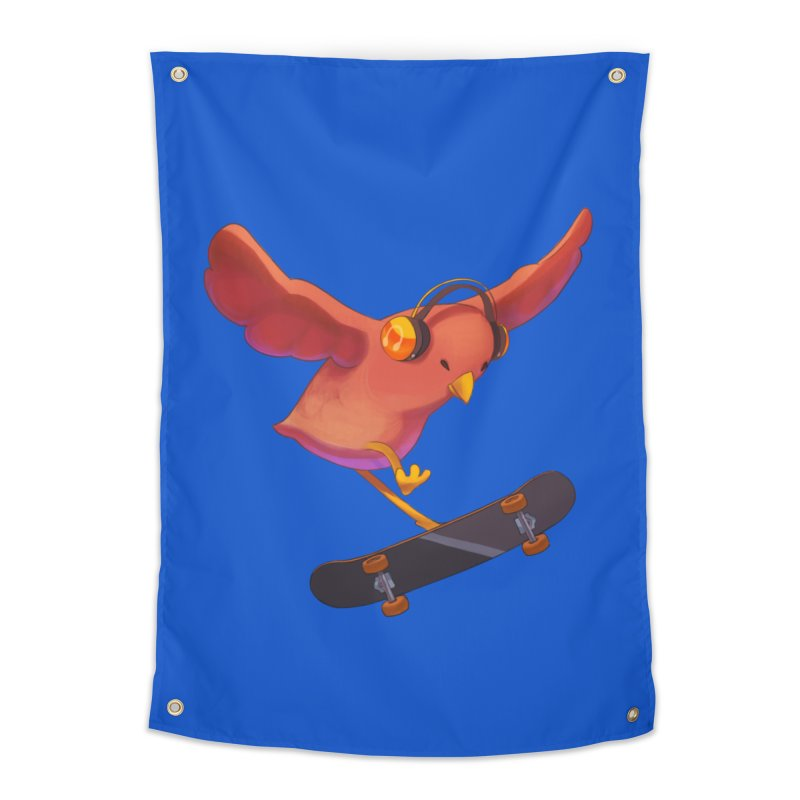 A Plain Skateboardin' Birb Home Tapestry by SkateBIRD Merchandise