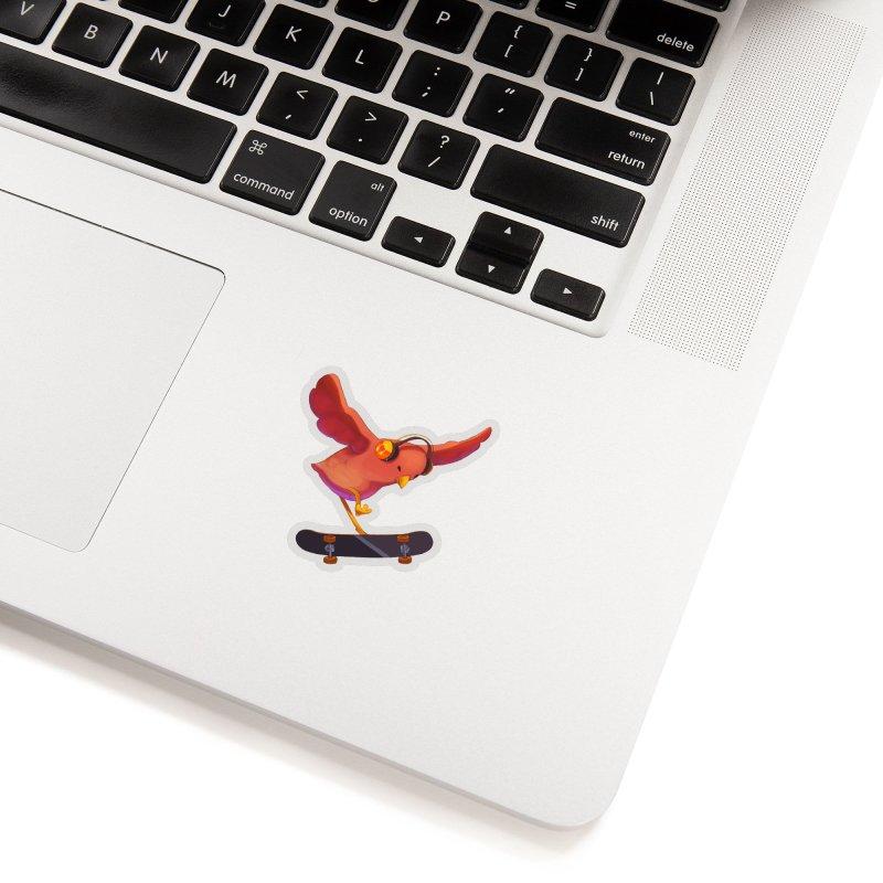 A Plain Skateboardin' Birb Accessories Sticker by SkateBIRD Merchandise