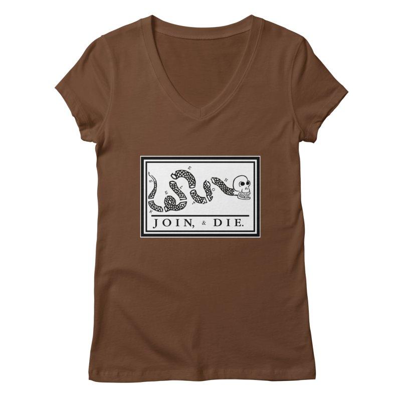 Join & Die Women's Regular V-Neck by Skeleton Krewe's Shop
