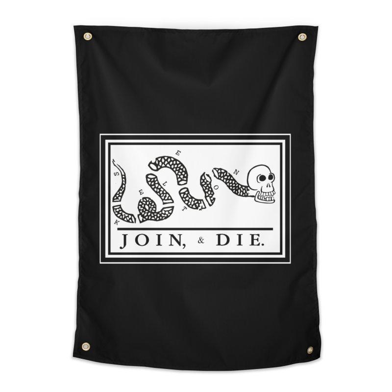 Join & Die Home Tapestry by Skeleton Krewe's Shop