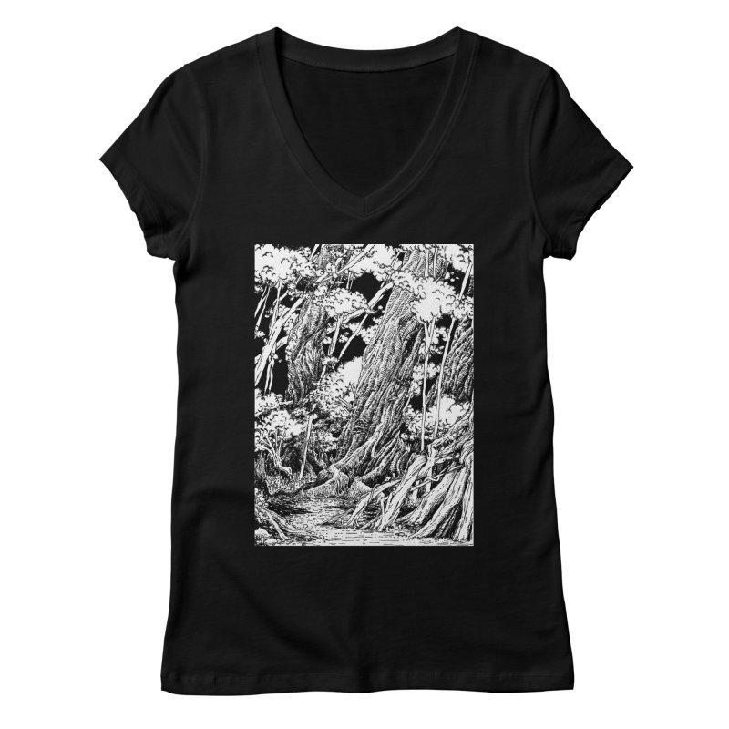 Chill Forest Women's Regular V-Neck by Skeleton Weather