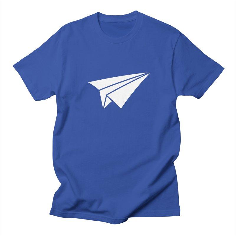 Paper Airplane in Men's Regular T-Shirt Royal Blue by Sketchbook B