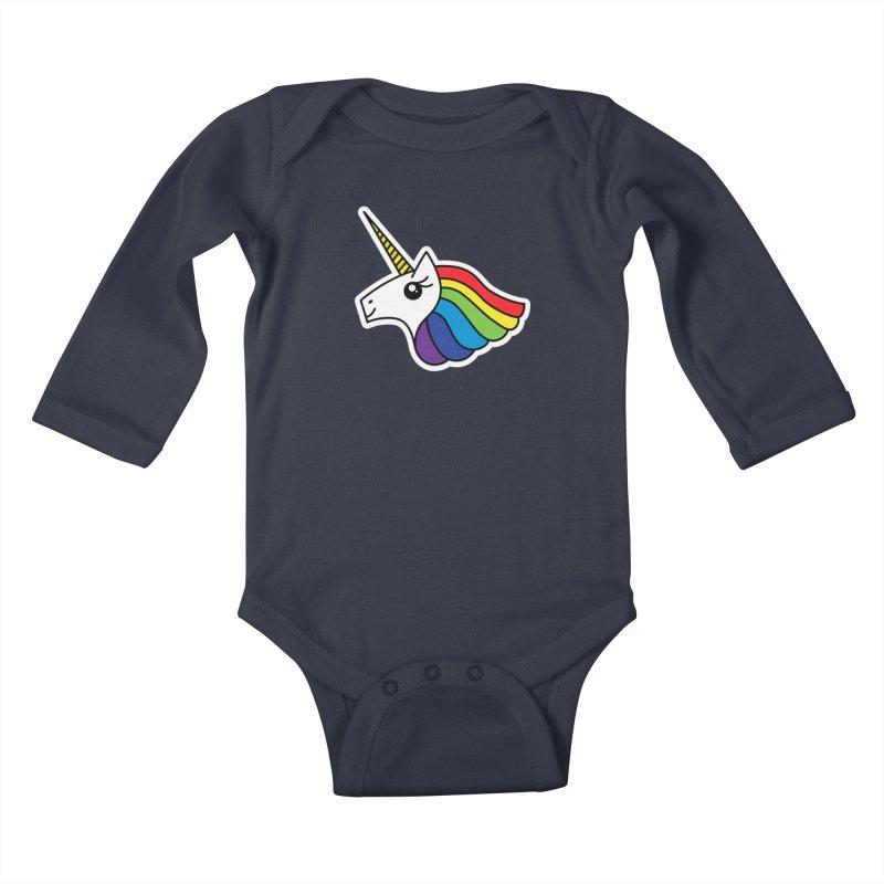 Team Rainbow Unicorn Kids Baby Longsleeve Bodysuit by Sketchbook B