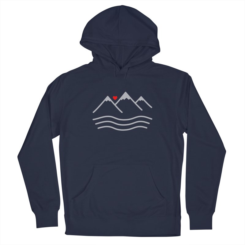 Mountains and Oceans Men's French Terry Pullover Hoody by Sketchbook B