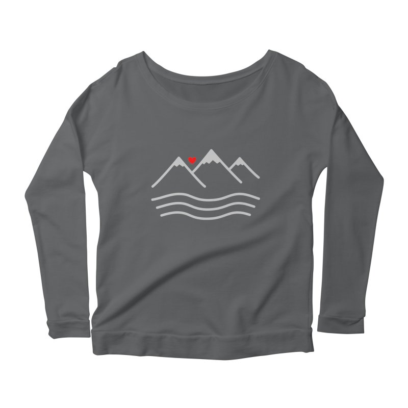 Mountains and Oceans Women's Scoop Neck Longsleeve T-Shirt by Sketchbook B