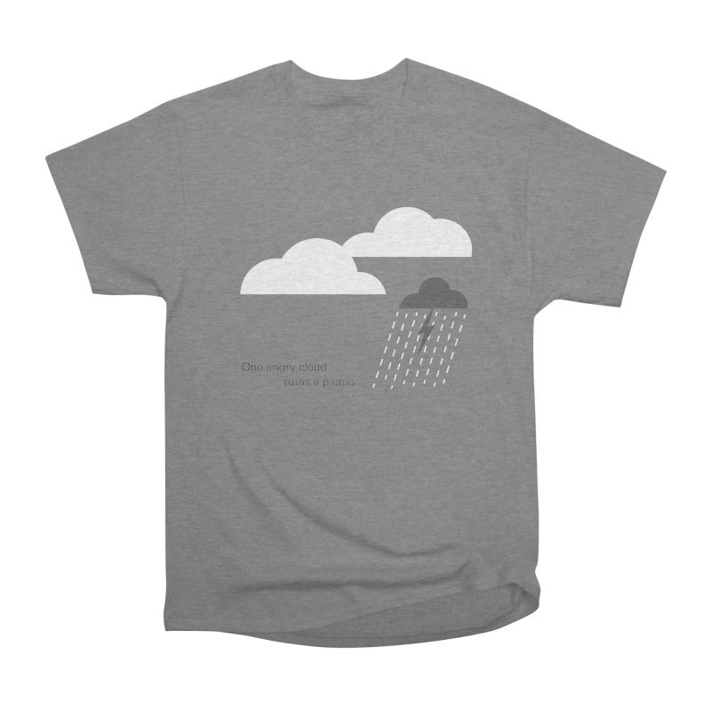 One angry cloud ruins a picnic. in Women's Heavyweight Unisex T-Shirt Heather Graphite by Sketchbook B