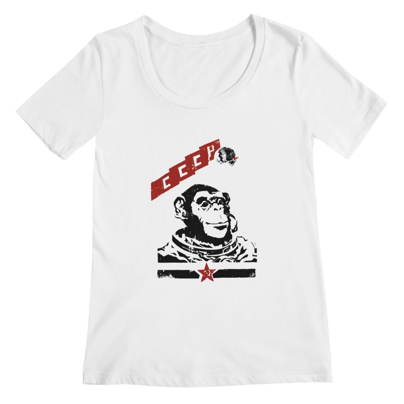 Soviet Space Monkey Women's Scoopneck by sketchboy01's Artist Shop