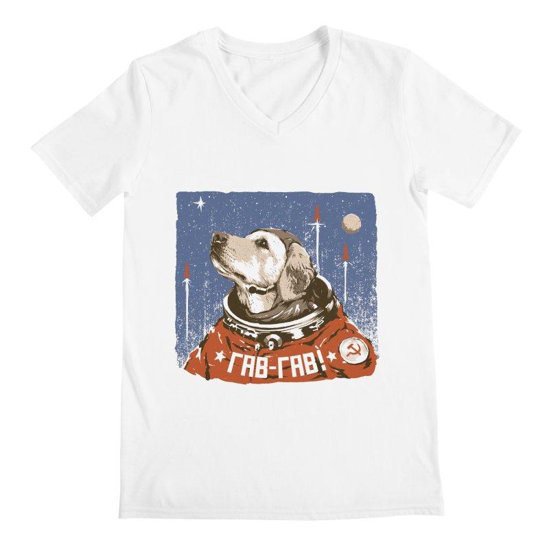 Soviet Space Dog Men's V-Neck by sketchboy01's Artist Shop