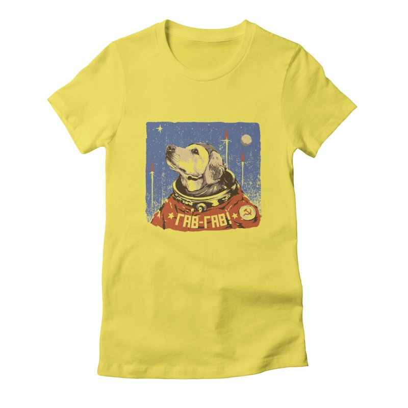 Soviet Space Dog Women's Fitted T-Shirt by sketchboy01's Artist Shop