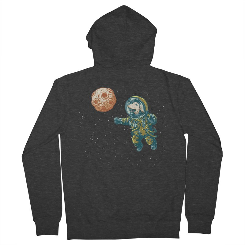 Soviet Space Dog Fetching Planet Men's Zip-Up Hoody by sketchboy01's Artist Shop