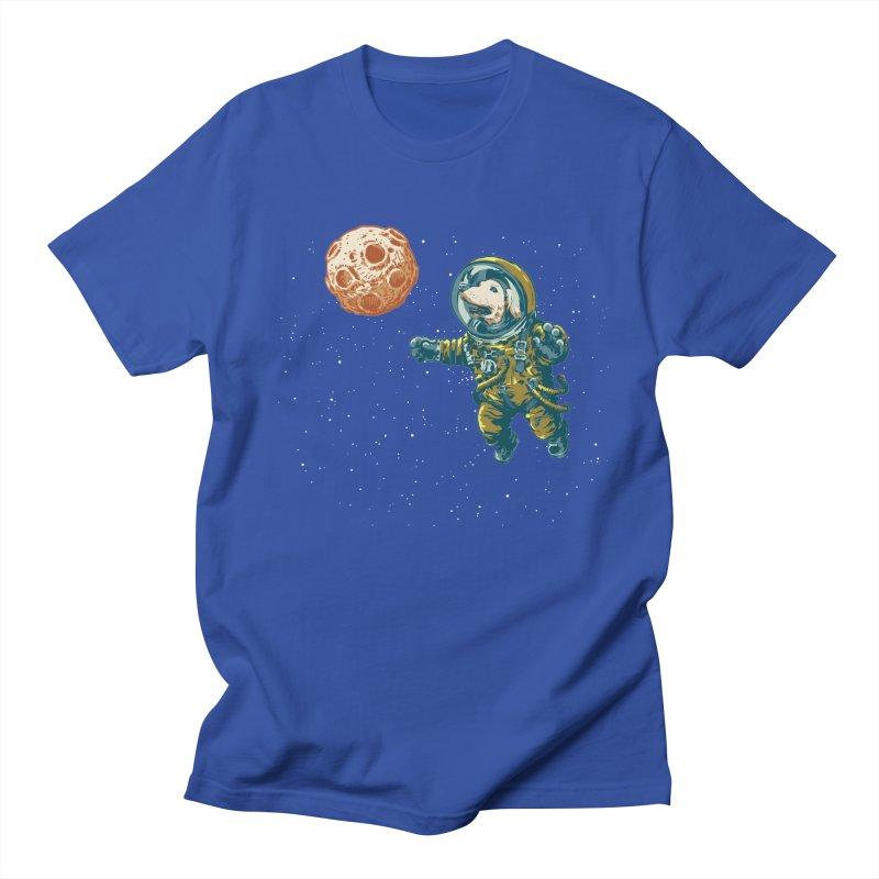 Soviet Space Dog Fetching Planet Men's T-shirt by sketchboy01's Artist Shop