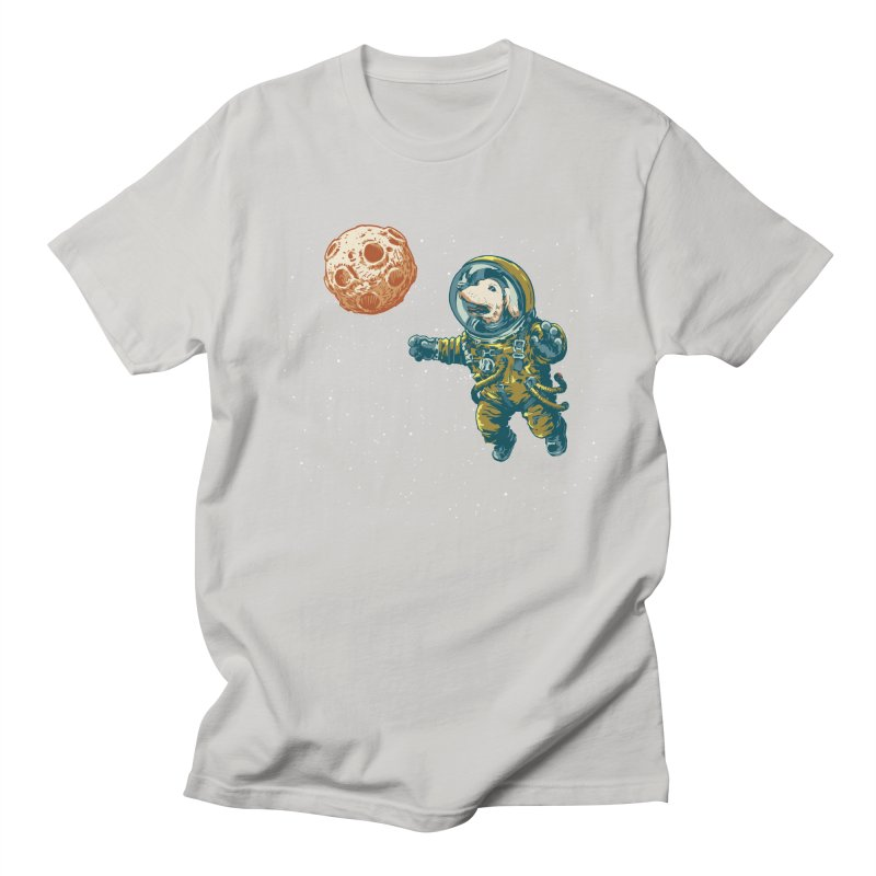 Soviet Space Dog Fetching Planet Men's T-shirt by sketchboy01's Artist Shop