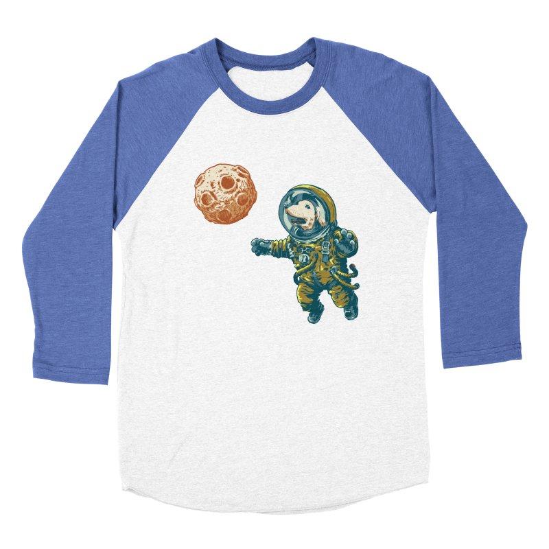 Soviet Space Dog Fetching Planet Women's Baseball Triblend T-Shirt by sketchboy01's Artist Shop