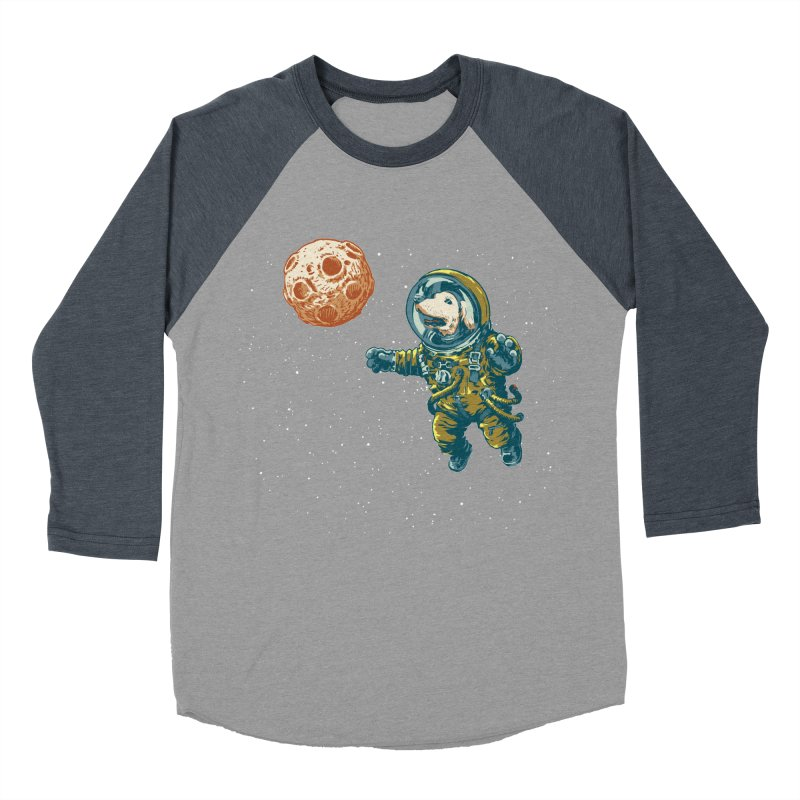 Soviet Space Dog Fetching Planet Women's Baseball Triblend T-Shirt by sketchboy01's Artist Shop