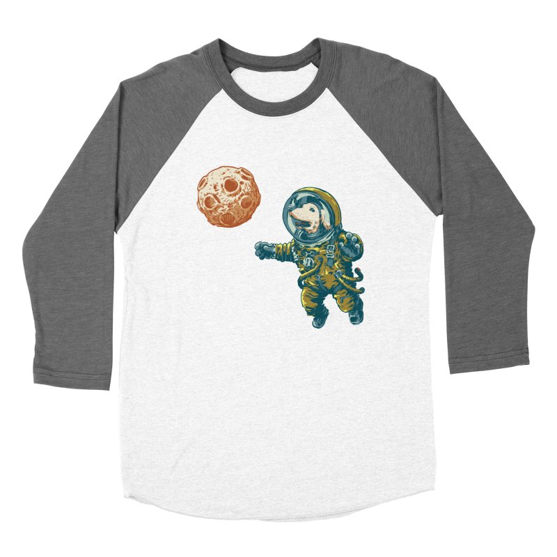Soviet Space Dog Fetching Planet Men's Baseball Triblend T-Shirt by sketchboy01's Artist Shop