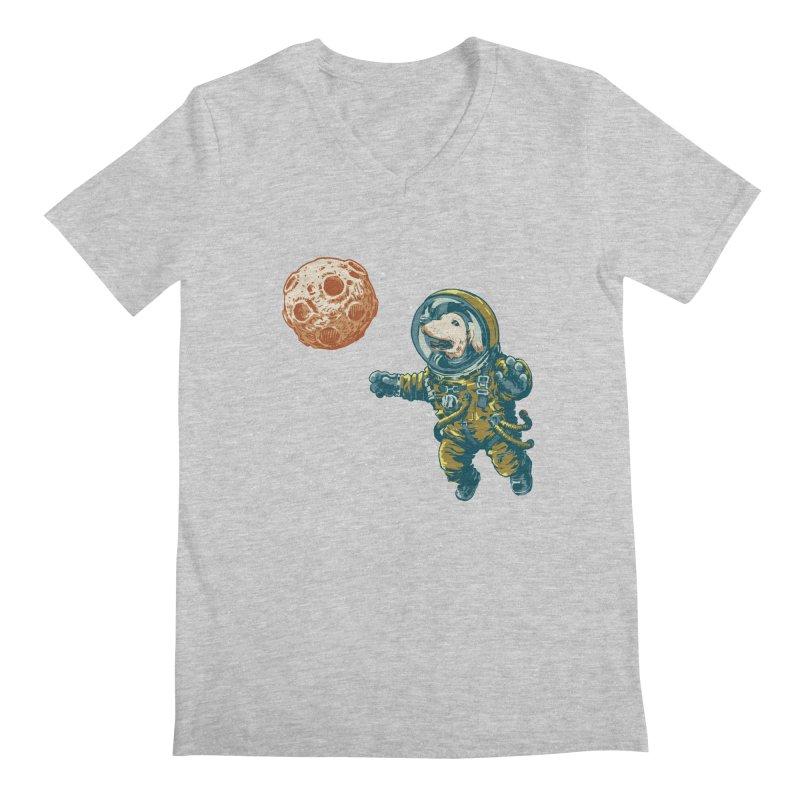 Soviet Space Dog Fetching Planet Men's V-Neck by sketchboy01's Artist Shop