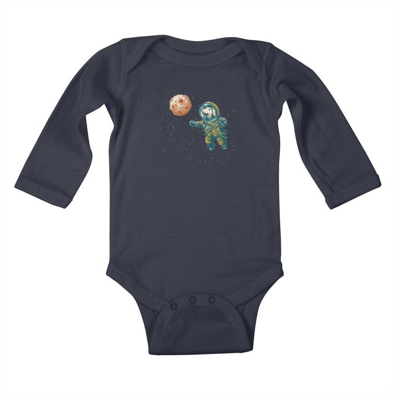 Soviet Space Dog Fetching Planet Kids Baby Longsleeve Bodysuit by sketchboy01's Artist Shop