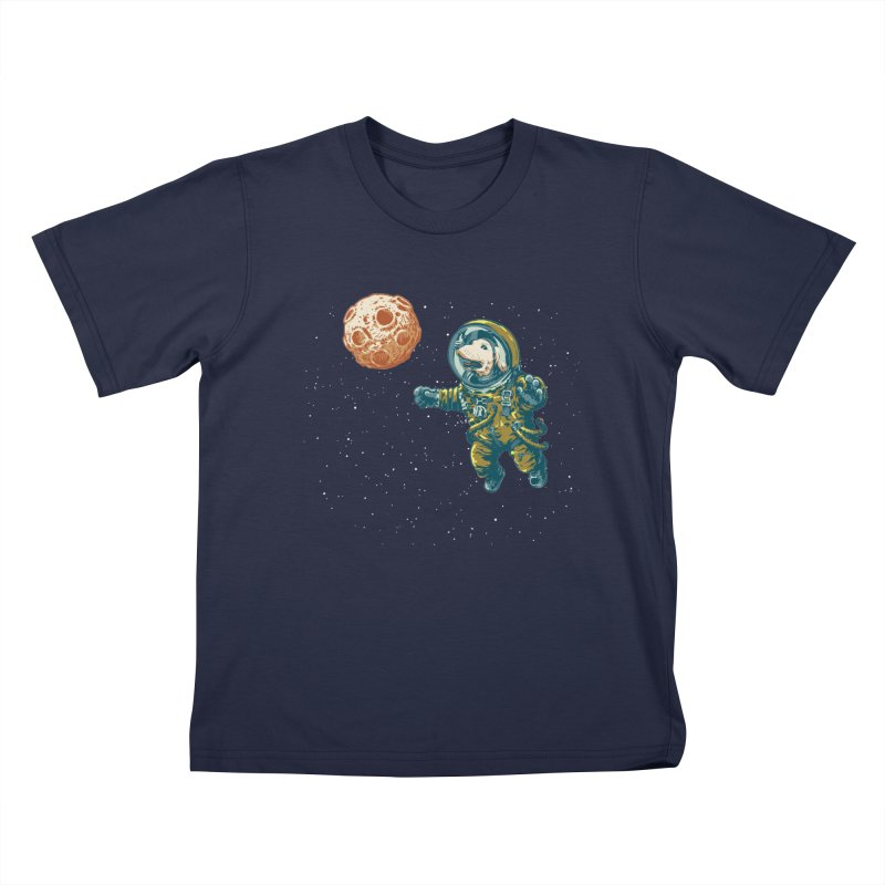 Soviet Space Dog Fetching Planet Kids T-shirt by sketchboy01's Artist Shop