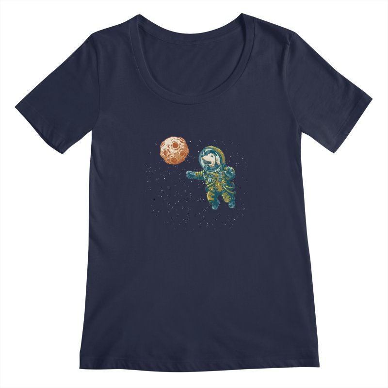 Soviet Space Dog Fetching Planet Women's Scoopneck by sketchboy01's Artist Shop