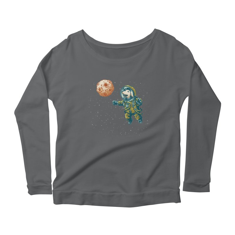 Soviet Space Dog Fetching Planet Women's Longsleeve Scoopneck  by sketchboy01's Artist Shop