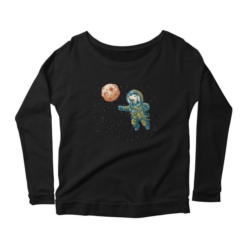 Soviet Space Dog Fetching Planet Women's Longsleeve Scoopneck  by sketchboy01's Artist Shop