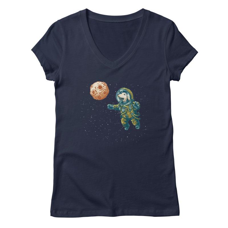 Soviet Space Dog Fetching Planet Women's V-Neck by sketchboy01's Artist Shop