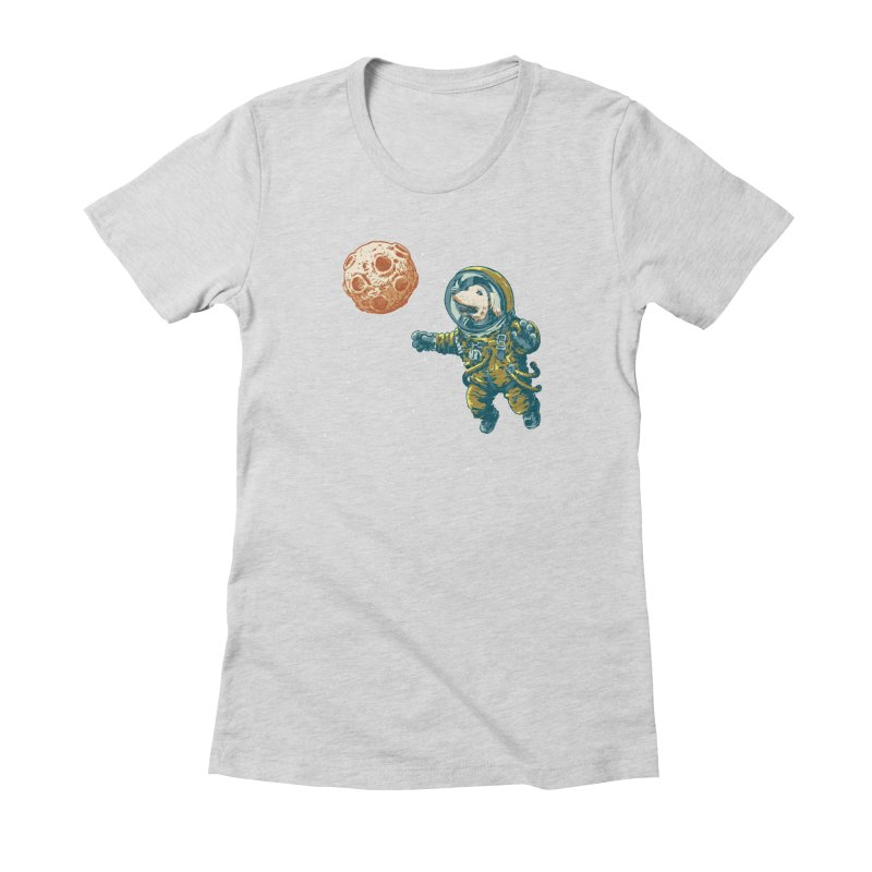 Soviet Space Dog Fetching Planet Women's Fitted T-Shirt by sketchboy01's Artist Shop
