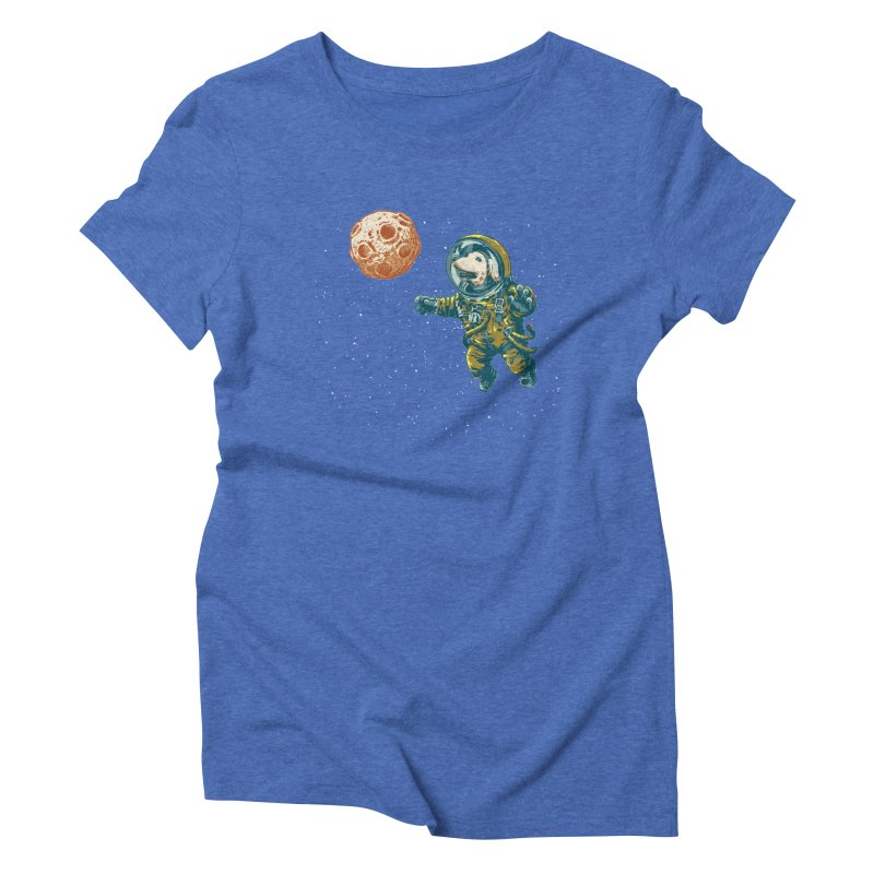 Soviet Space Dog Fetching Planet Women's Triblend T-shirt by sketchboy01's Artist Shop