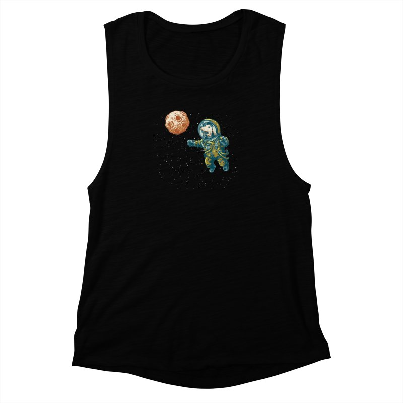 Soviet Space Dog Fetching Planet Women's Muscle Tank by sketchboy01's Artist Shop