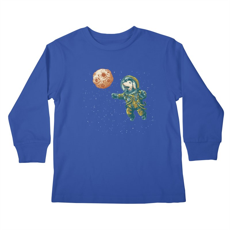 Soviet Space Dog Fetching Planet Kids Longsleeve T-Shirt by sketchboy01's Artist Shop