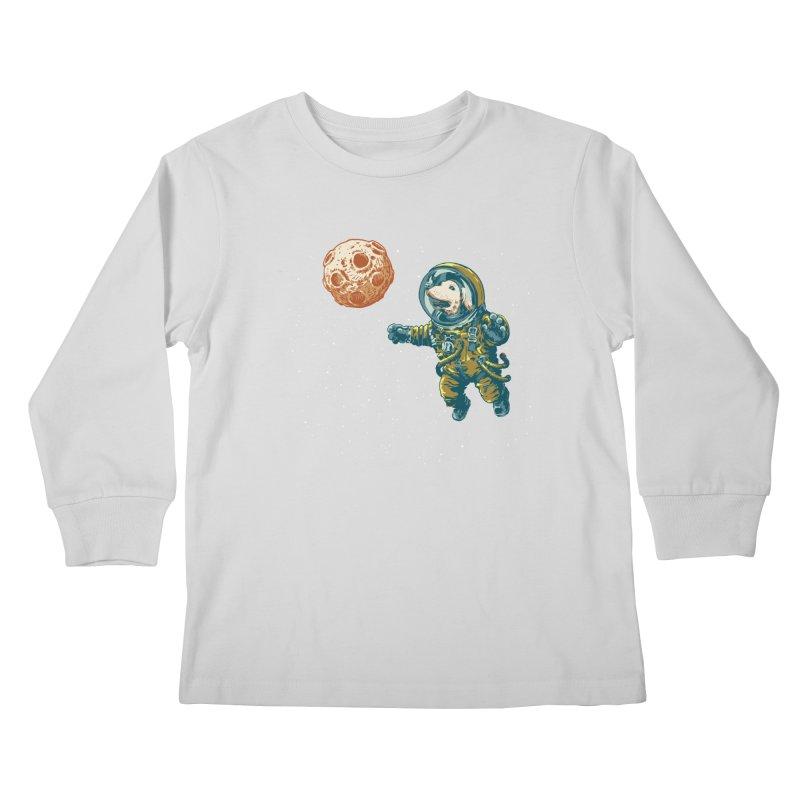 Soviet Space Dog Fetching Planet Kids Longsleeve T-Shirt by sketchboy01's Artist Shop