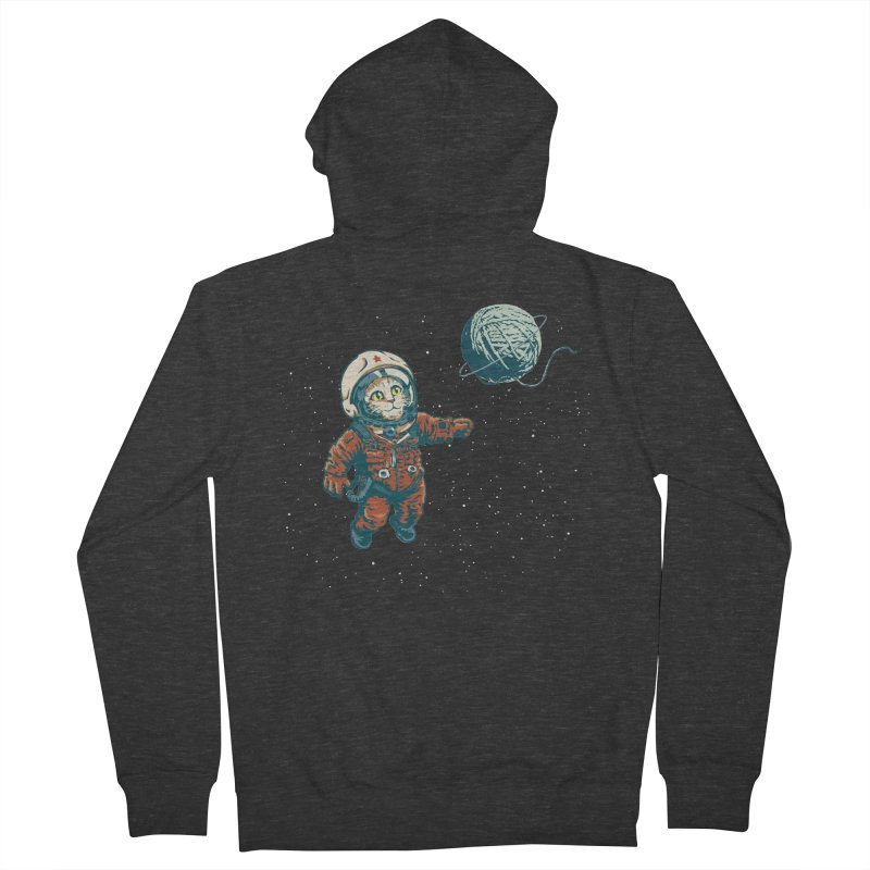 Soviet Space Cat Yarn Planet Men's Zip-Up Hoody by sketchboy01's Artist Shop