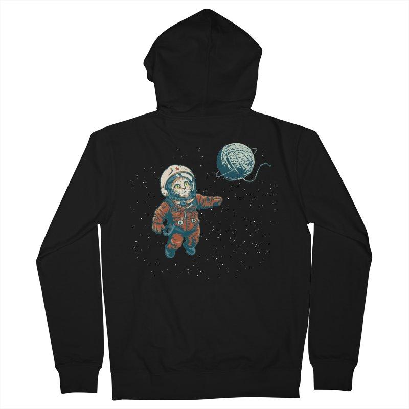 Soviet Space Cat Yarn Planet Men's Zip-Up Hoody by sketchboy01's Artist Shop