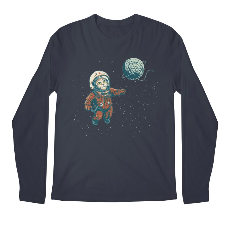 Soviet Space Cat Yarn Planet Men's Longsleeve T-Shirt by sketchboy01's Artist Shop