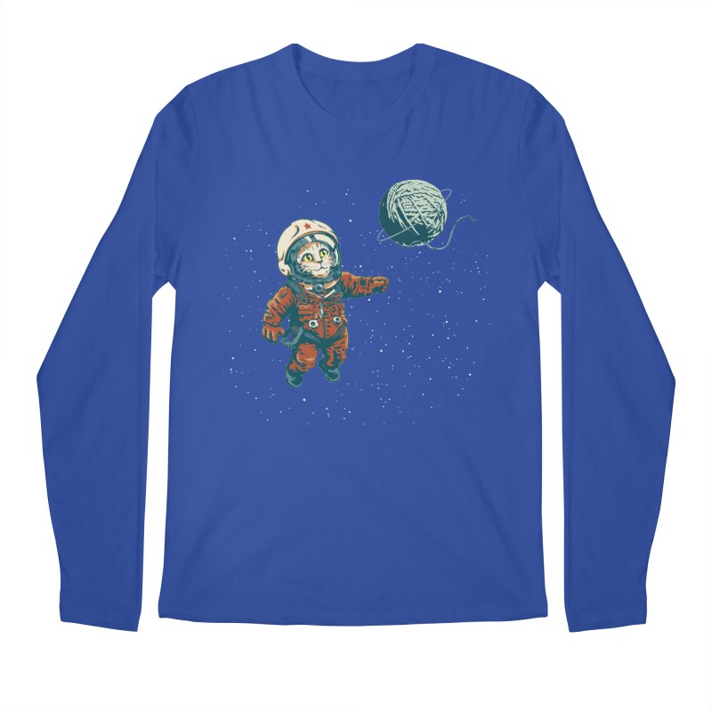 Soviet Space Cat Yarn Planet Men's Longsleeve T-Shirt by sketchboy01's Artist Shop