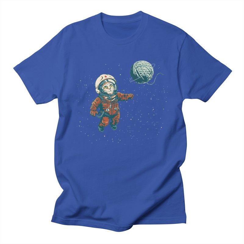 Soviet Space Cat Yarn Planet Men's T-Shirt by sketchboy01's Artist Shop
