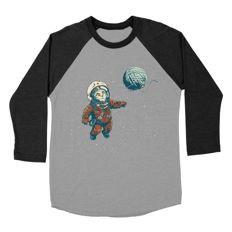 Soviet Space Cat Yarn Planet Men's Baseball Triblend T-Shirt by sketchboy01's Artist Shop