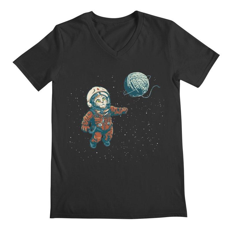Soviet Space Cat Yarn Planet Men's V-Neck by sketchboy01's Artist Shop