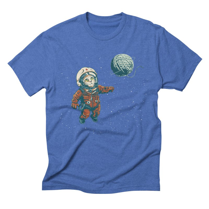 Soviet Space Cat Yarn Planet Men's Triblend T-shirt by sketchboy01's Artist Shop