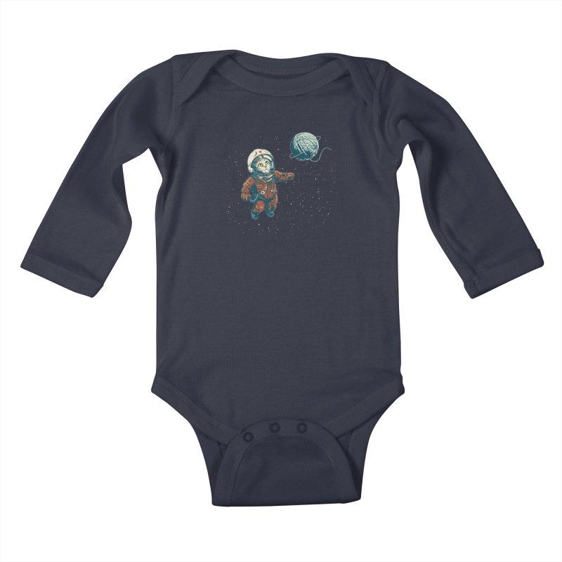Soviet Space Cat Yarn Planet Kids Baby Longsleeve Bodysuit by sketchboy01's Artist Shop