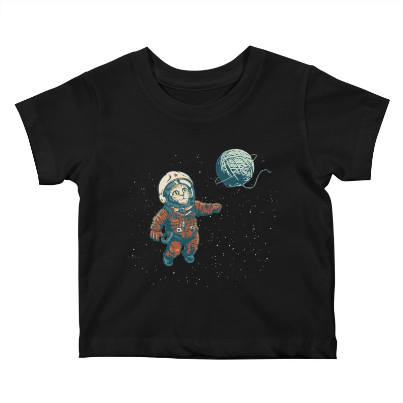 Soviet Space Cat Yarn Planet Kids Baby T-Shirt by sketchboy01's Artist Shop