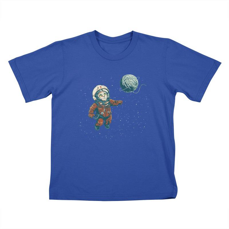 Soviet Space Cat Yarn Planet Kids T-Shirt by sketchboy01's Artist Shop