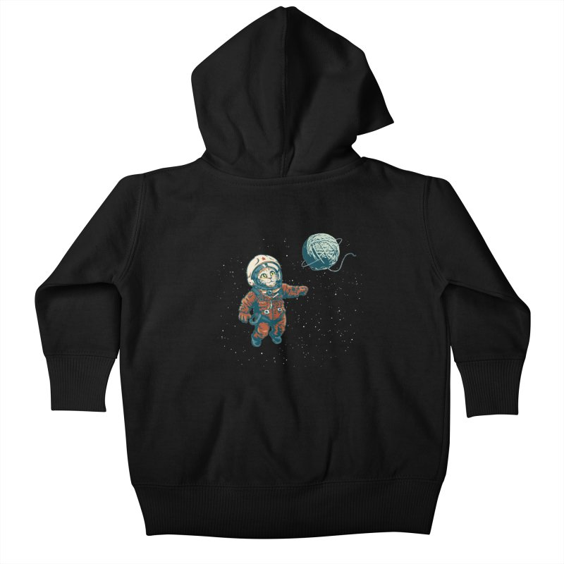 Soviet Space Cat Yarn Planet Kids Baby Zip-Up Hoody by sketchboy01's Artist Shop