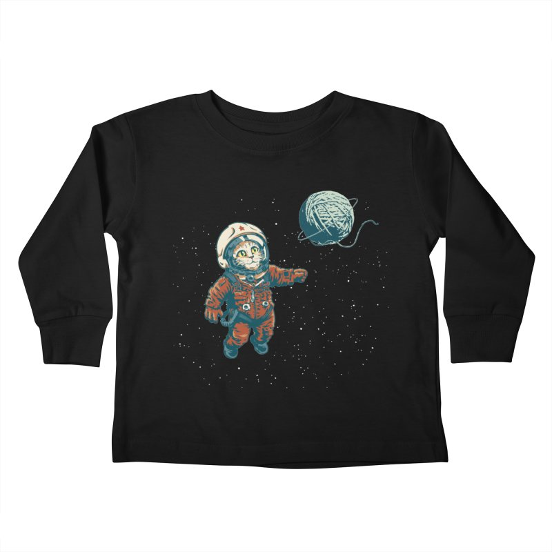 Soviet Space Cat Yarn Planet Kids Toddler Longsleeve T-Shirt by sketchboy01's Artist Shop
